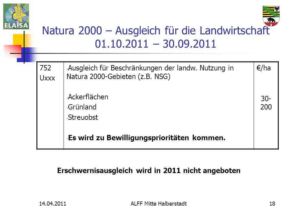 Natura 2000 – Ausgleich für die Landwirtschaft 01.10.2011 – 30.09.2011