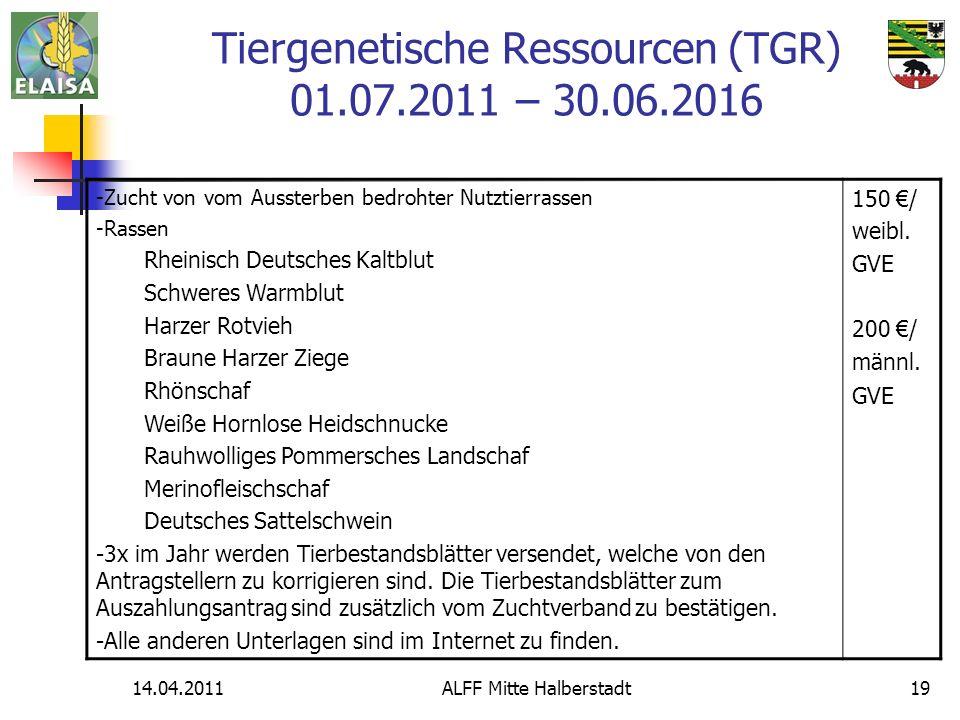 Tiergenetische Ressourcen (TGR) 01.07.2011 – 30.06.2016