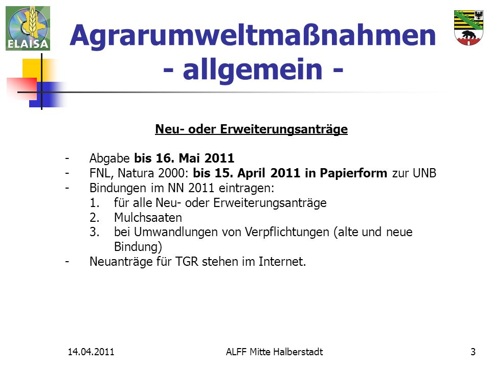 Agrarumweltmaßnahmen - allgemein - Neu- oder Erweiterungsanträge