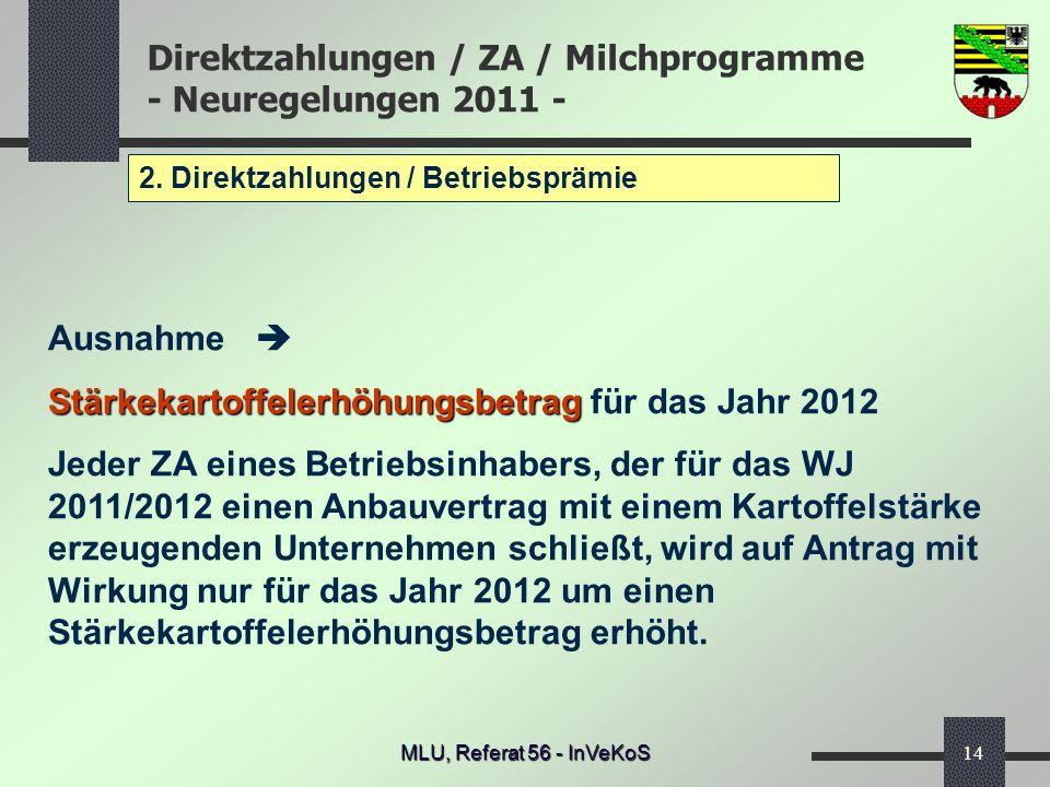 Stärkekartoffelerhöhungsbetrag für das Jahr 2012