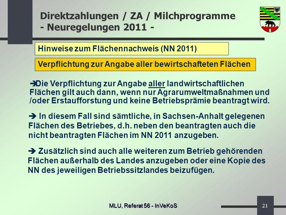 Hinweise zum Flächennachweis (NN 2011)