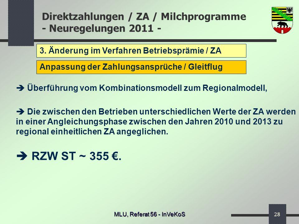  RZW ST ~ 355 €. 3. Änderung im Verfahren Betriebsprämie / ZA