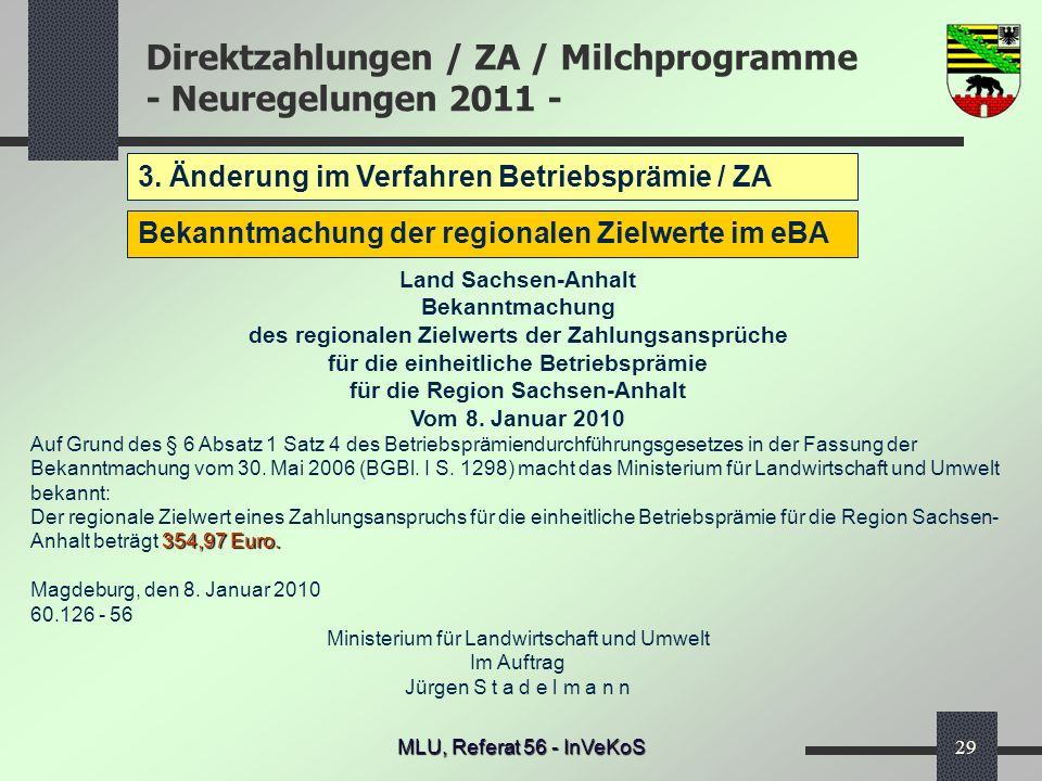 3. Änderung im Verfahren Betriebsprämie / ZA