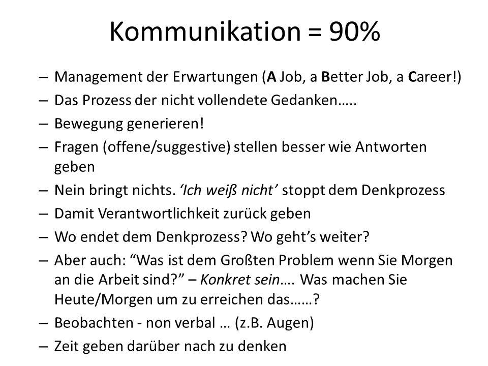 Kommunikation = 90% Management der Erwartungen (A Job, a Better Job, a Career!) Das Prozess der nicht vollendete Gedanken…..