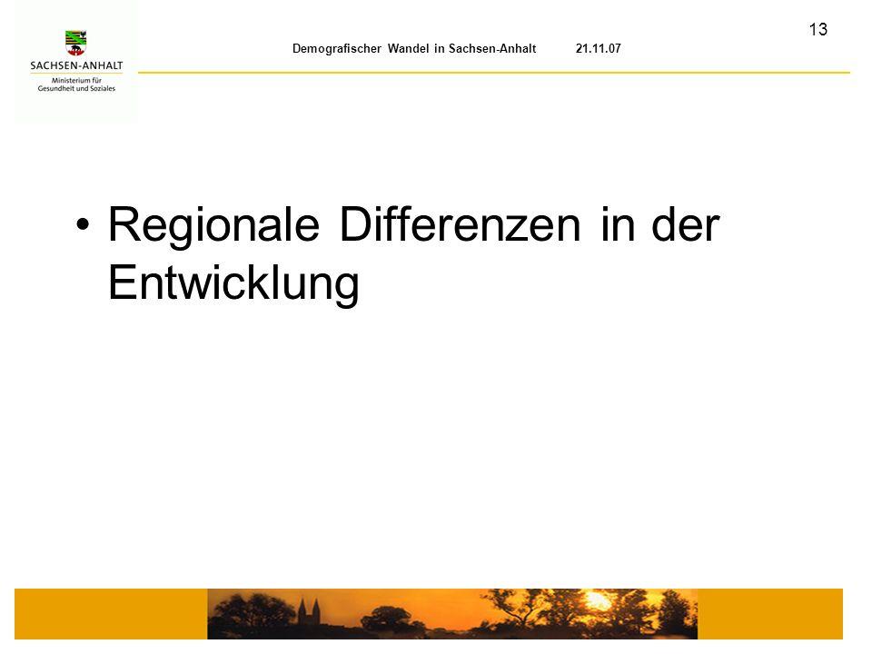 Regionale Differenzen in der Entwicklung