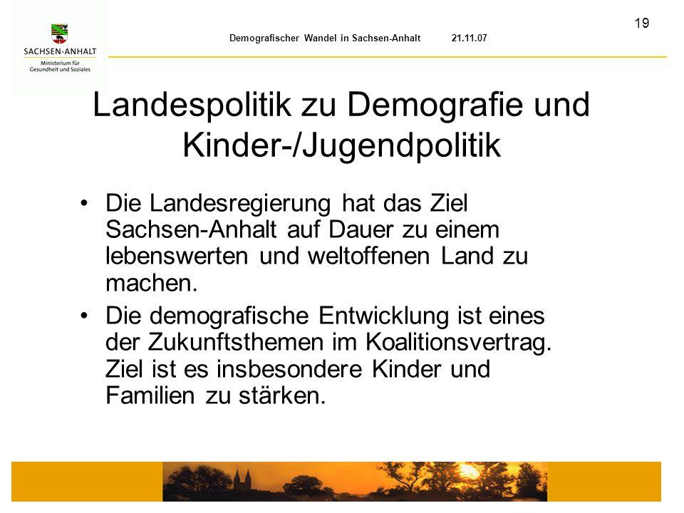 Landespolitik zu Demografie und Kinder-/Jugendpolitik