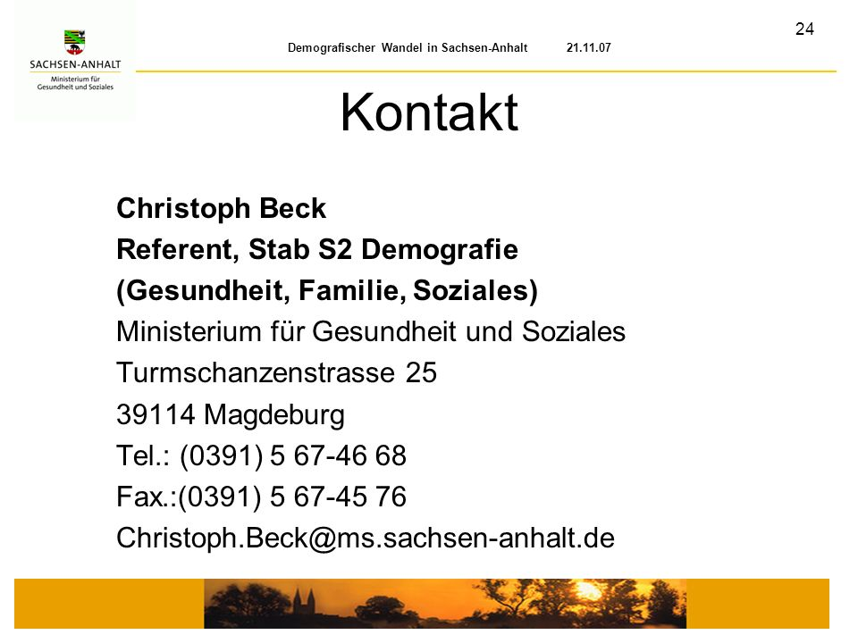 Kontakt Christoph Beck Referent, Stab S2 Demografie