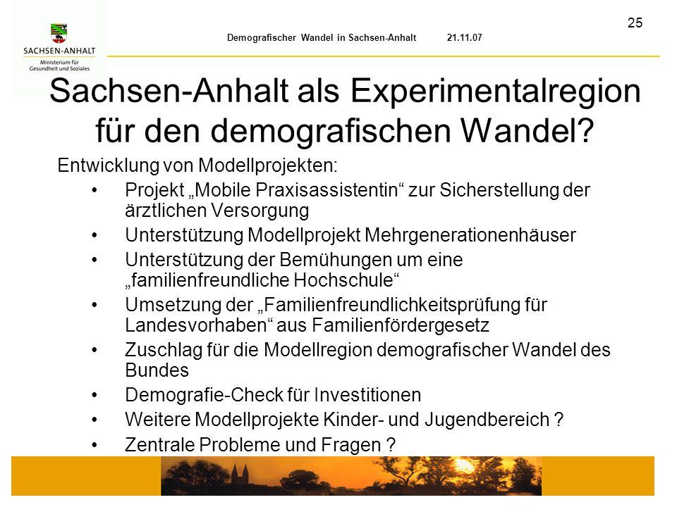 Sachsen-Anhalt als Experimentalregion für den demografischen Wandel