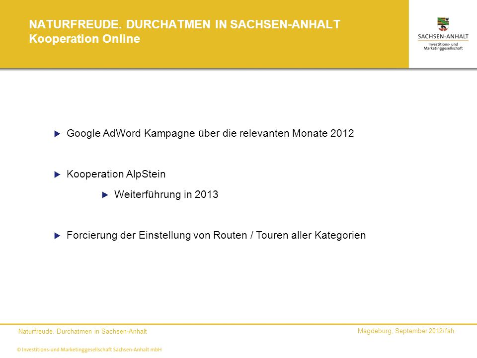NATURFREUDE. DURCHATMEN IN SACHSEN-ANHALT Kooperation Online
