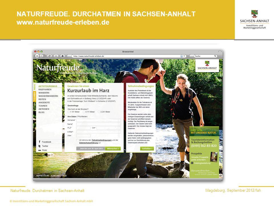 NATURFREUDE. DURCHATMEN IN SACHSEN-ANHALT www.naturfreude-erleben.de