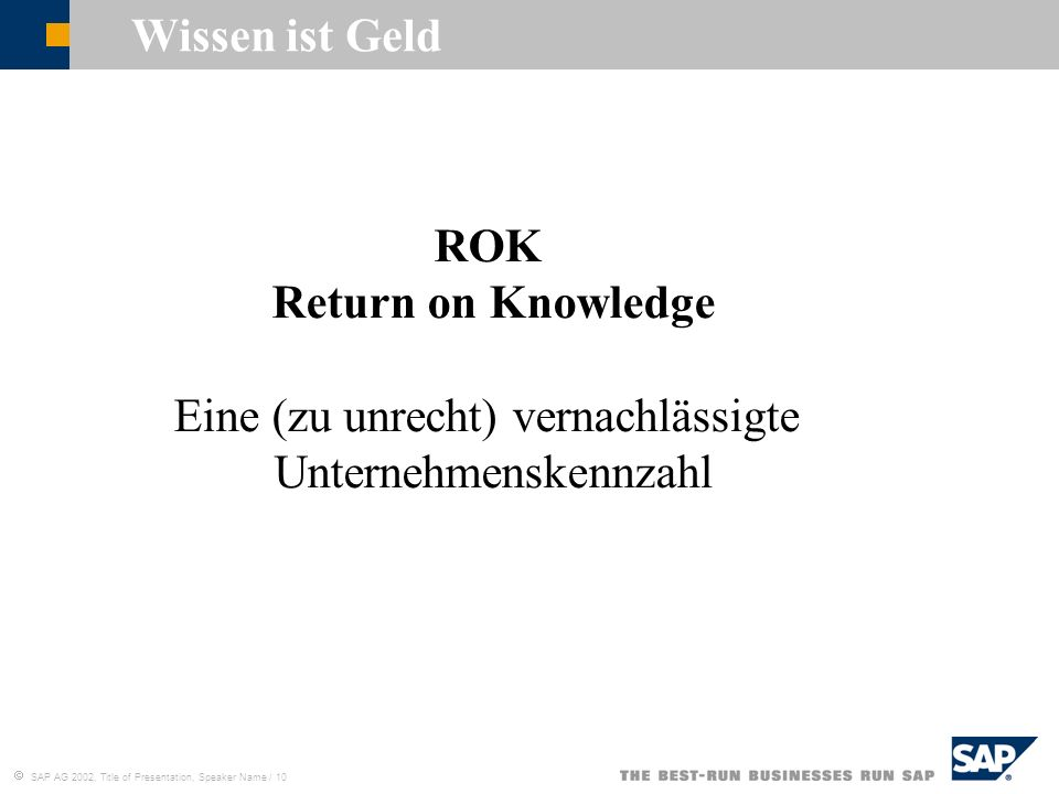 Wissen ist Geld ROK Return on Knowledge