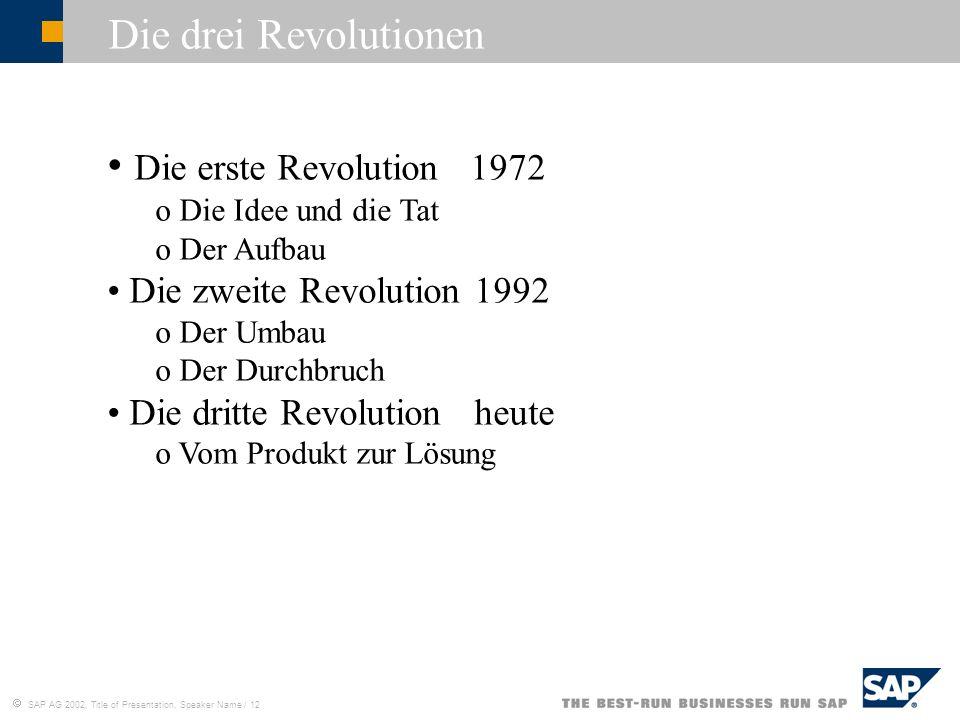 Die drei Revolutionen Die erste Revolution 1972