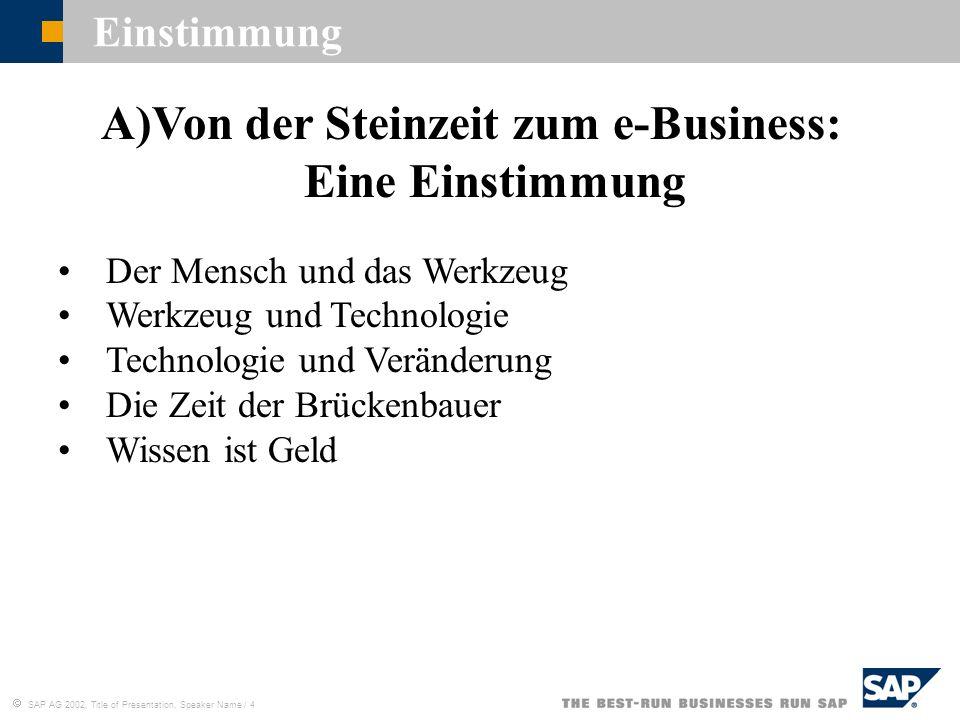 Von der Steinzeit zum e-Business: Eine Einstimmung