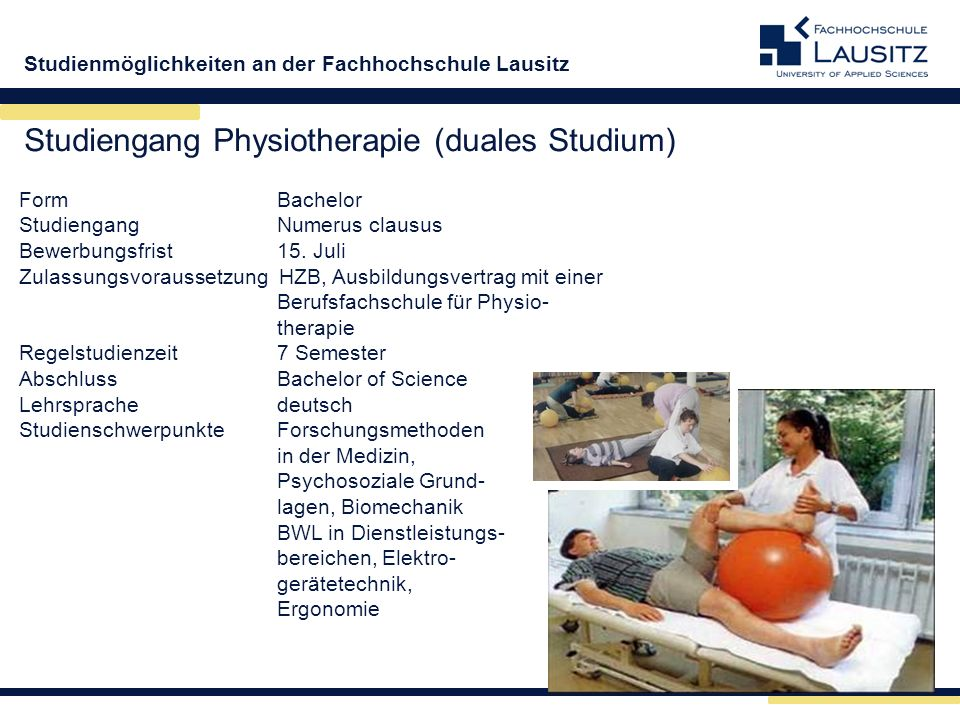 Studiengang Physiotherapie (duales Studium)