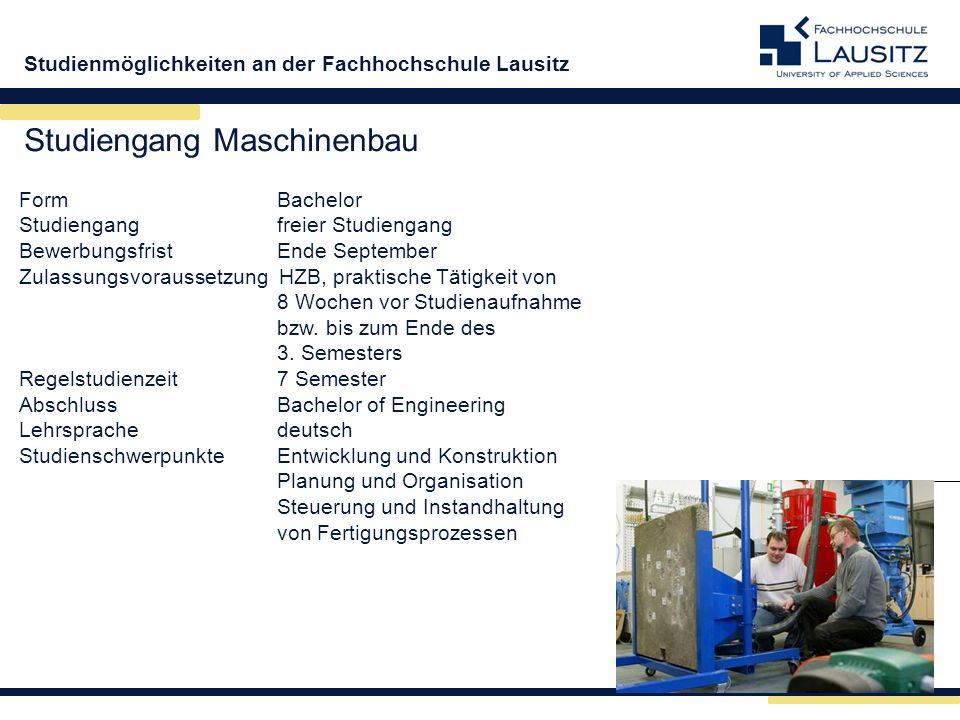 Studiengang Maschinenbau