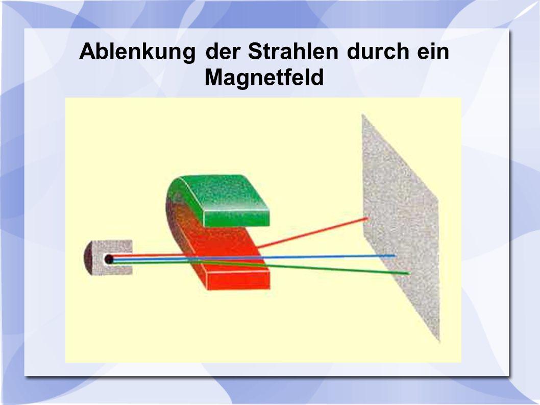 Ablenkung der Strahlen durch ein Magnetfeld