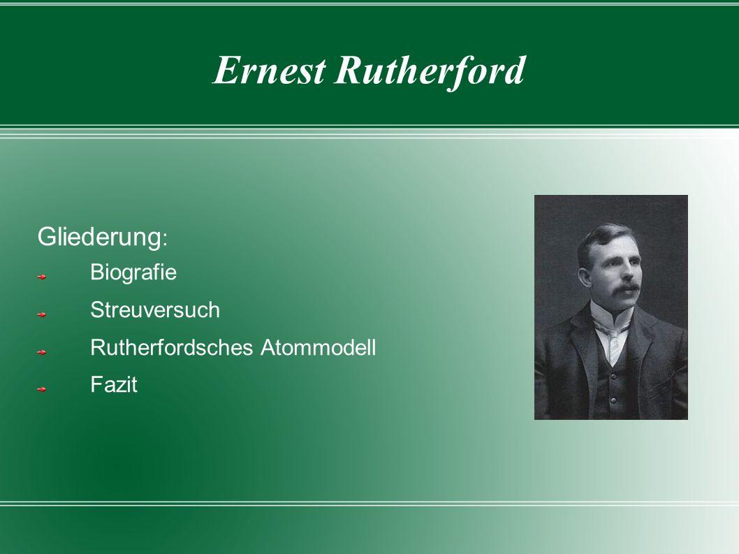 Gliederung: Biografie Streuversuch Rutherfordsches Atommodell Fazit
