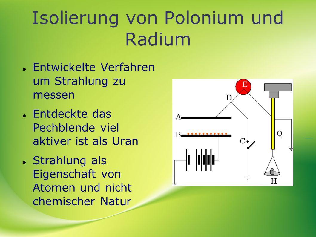 Isolierung von Polonium und Radium