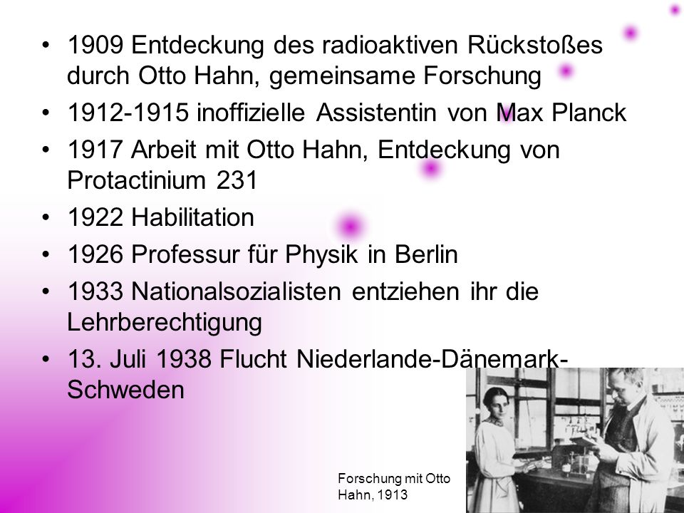 1912-1915 inoffizielle Assistentin von Max Planck