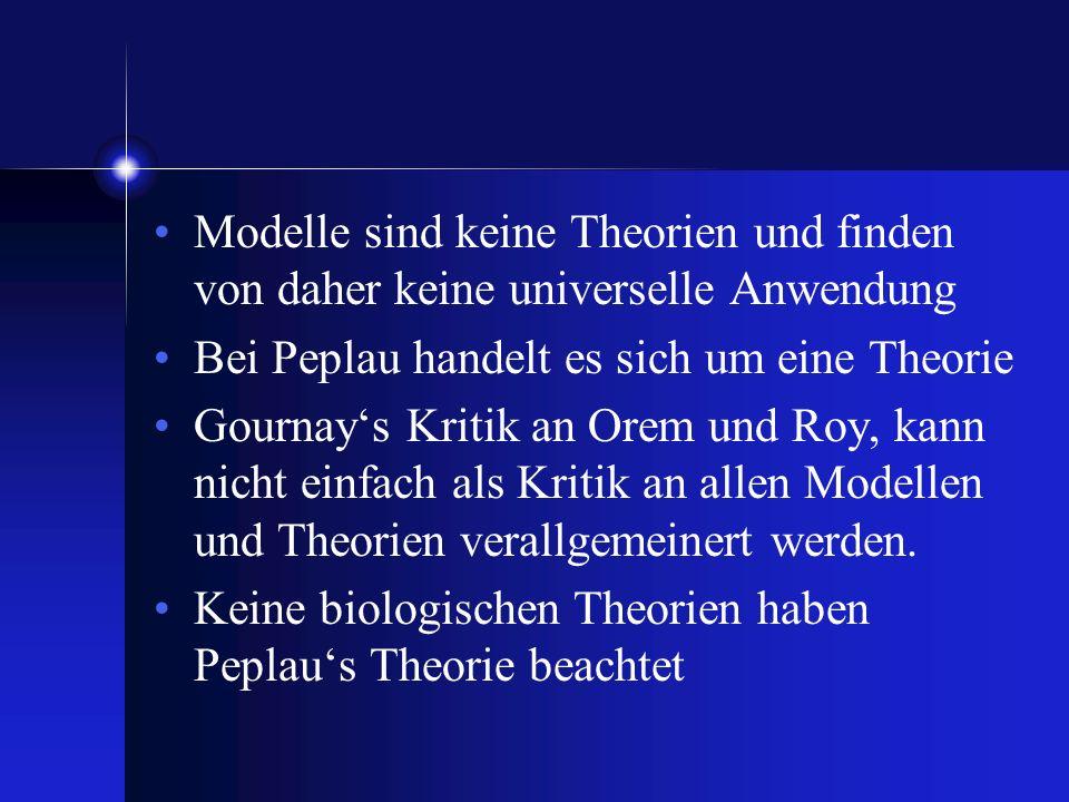 Modelle sind keine Theorien und finden von daher keine universelle Anwendung