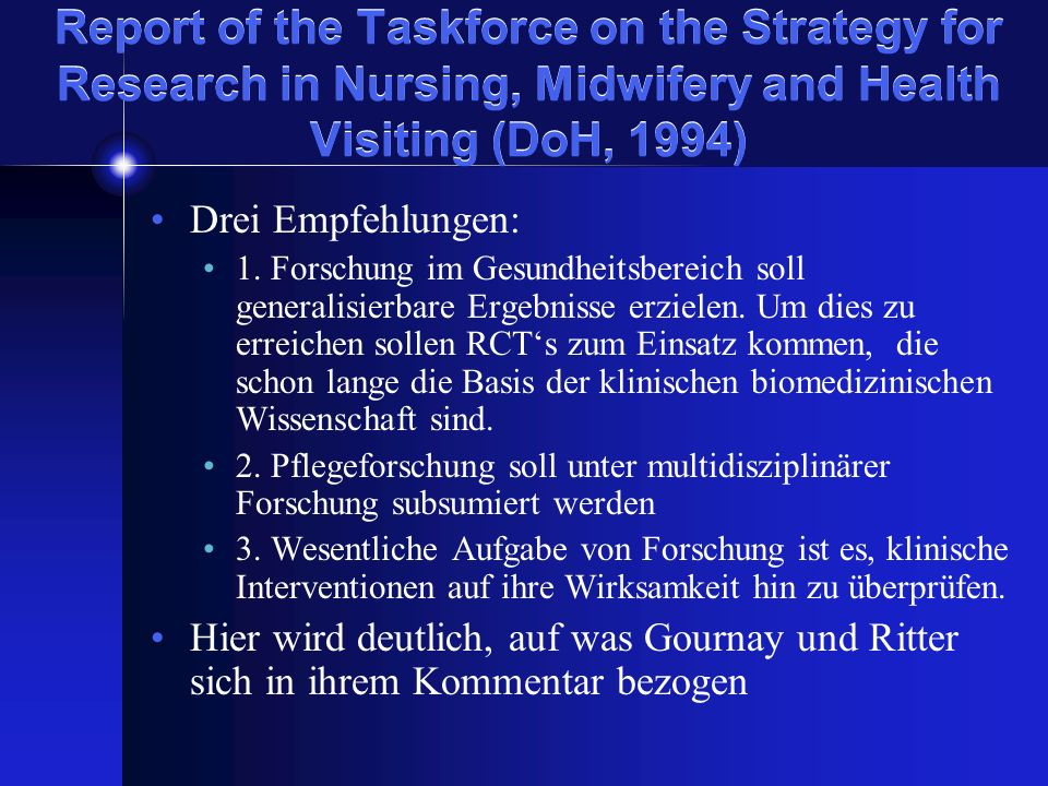 Report of the Taskforce on the Strategy for Research in Nursing, Midwifery and Health Visiting (DoH, 1994)