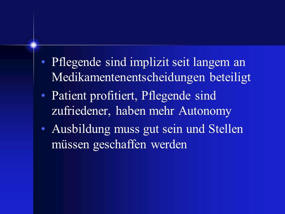 Pflegende sind implizit seit langem an Medikamentenentscheidungen beteiligt