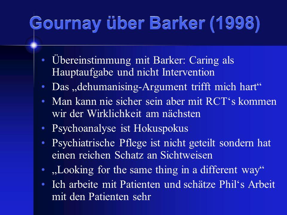 Gournay über Barker (1998)Übereinstimmung mit Barker: Caring als Hauptaufgabe und nicht Intervention.