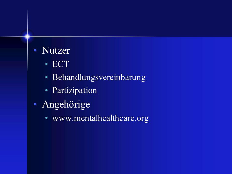 Nutzer Angehörige ECT Behandlungsvereinbarung Partizipation