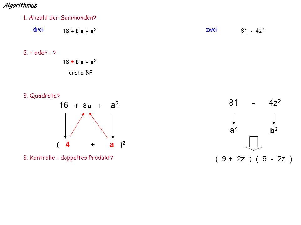81 - 4z2 16 + 8 a + a2 a2 b2 ( 4 + a )2 ( 9 + 2z ) ( 9 - 2z )