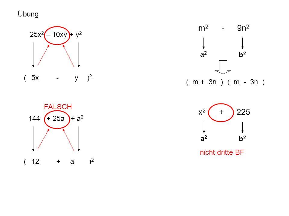 m2 - 9n2 x2 + 225 Übung 25x2 – 10xy + y2 a2 b2 ( - )2 5x y