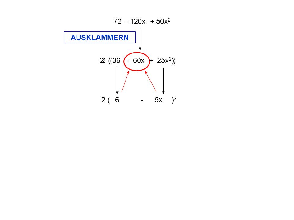 72 – 120x + 50x2 AUSKLAMMERN. 2 ( ) 2 ( 36 – 60x + 25x2 ) 2 ( - )2.
