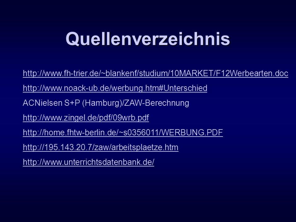 Quellenverzeichnis http://www.fh-trier.de/~blankenf/studium/10MARKET/F12Werbearten.doc. http://www.noack-ub.de/werbung.htm#Unterschied.