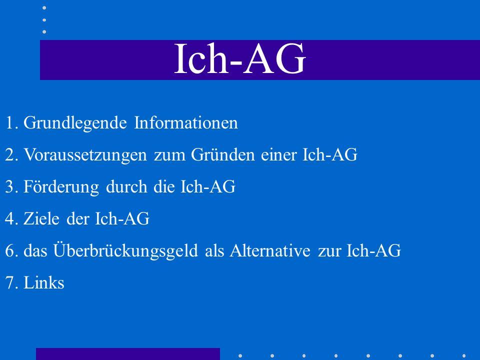 Ich-AG 1. Grundlegende Informationen