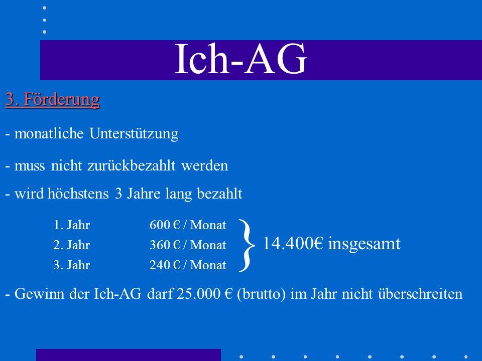 } Ich-AG 3. Förderung 1. Jahr 600 € / Monat 2. Jahr 360 € / Monat