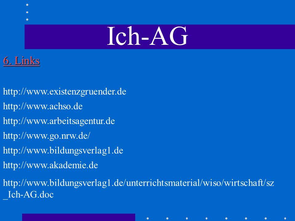 Ich-AG 6. Links http://www.existenzgruender.de http://www.achso.de