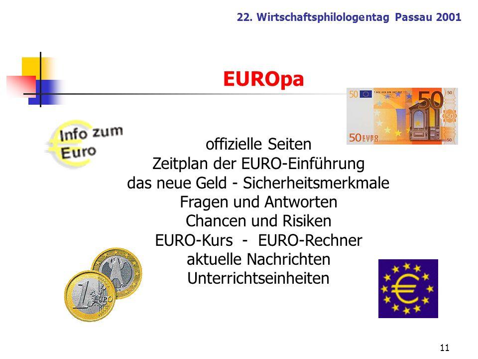 EUROpa offizielle Seiten Zeitplan der EURO-Einführung