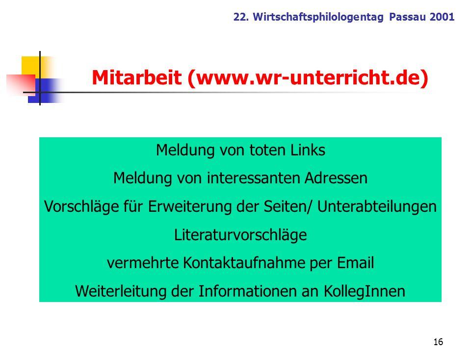 Mitarbeit (www.wr-unterricht.de)