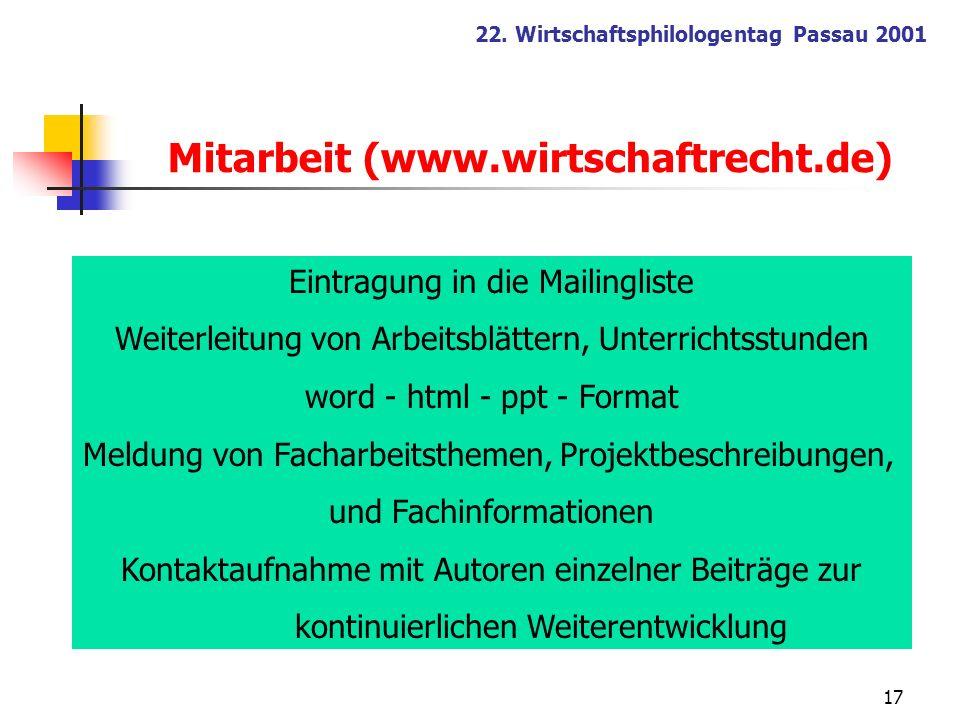Mitarbeit (www.wirtschaftrecht.de)