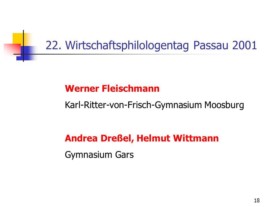 22. Wirtschaftsphilologentag Passau 2001