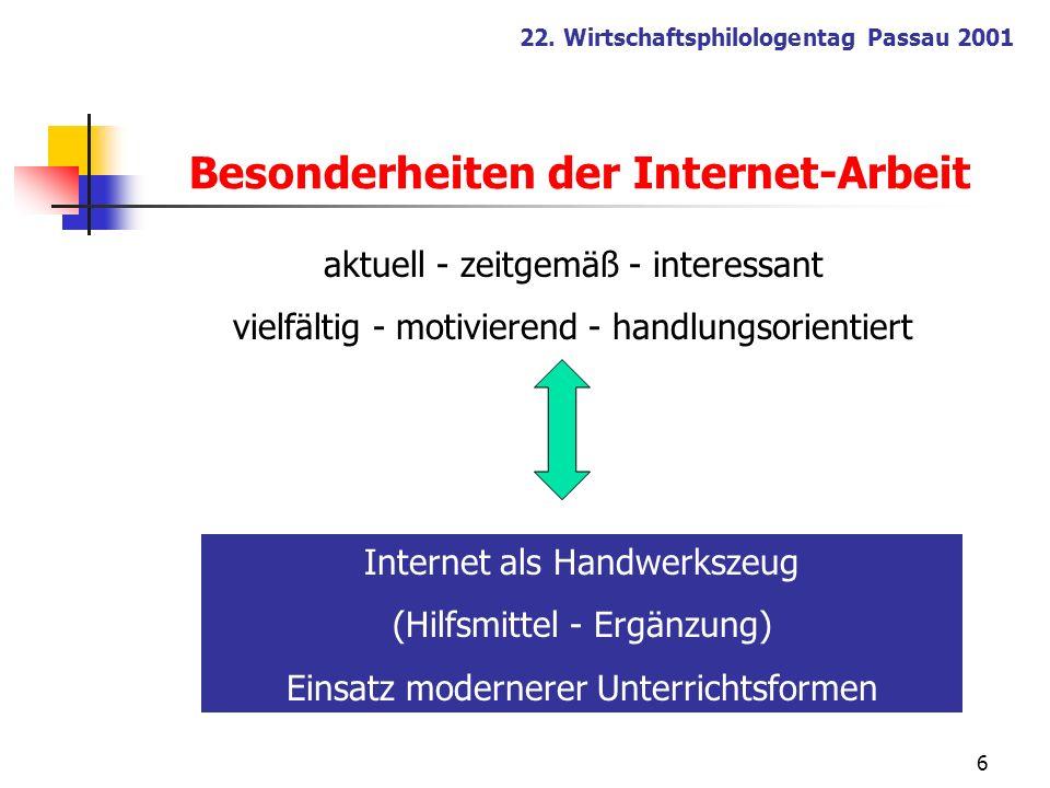Besonderheiten der Internet-Arbeit