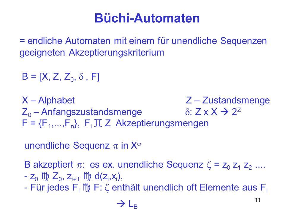 Büchi-Automaten = endliche Automaten mit einem für unendliche Sequenzen. geeigneten Akzeptierungskriterium.