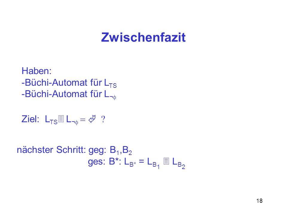 Zwischenfazit Haben: Büchi-Automat für LTS Büchi-Automat für L¬f