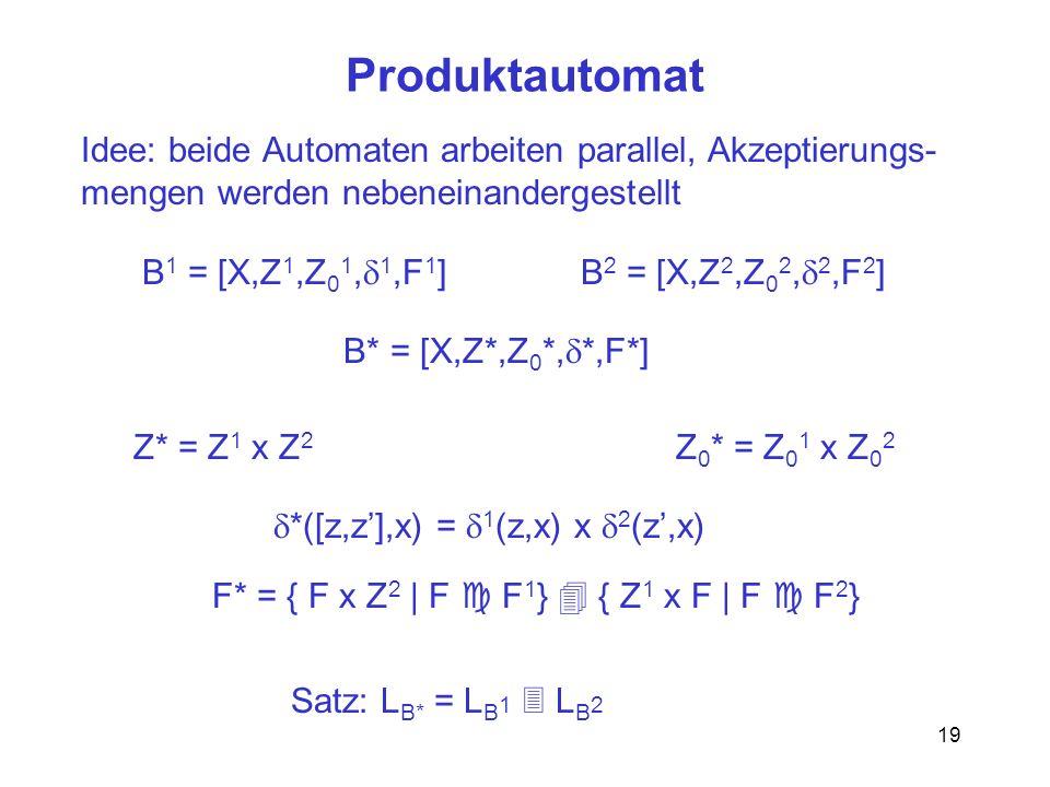 Produktautomat Idee: beide Automaten arbeiten parallel, Akzeptierungs-