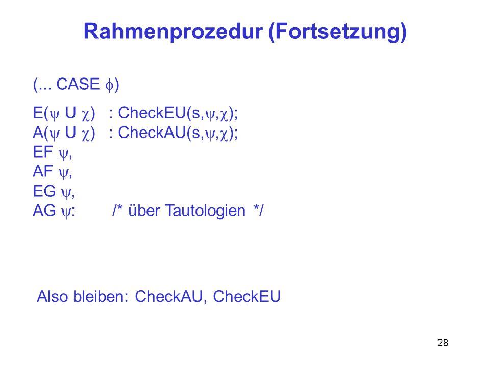 Rahmenprozedur (Fortsetzung)