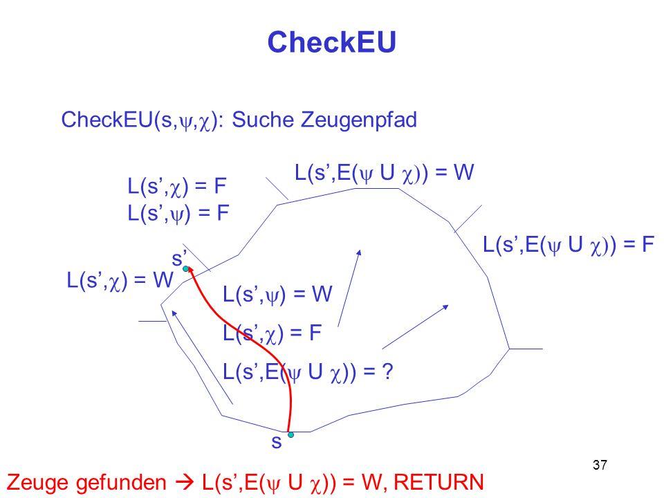 CheckEU CheckEU(s,y,c): Suche Zeugenpfad L(s',E(y U c)) = W