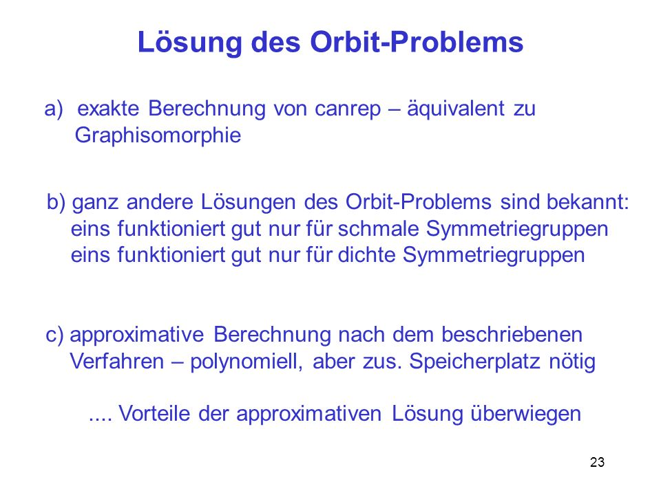 Lösung des Orbit-Problems
