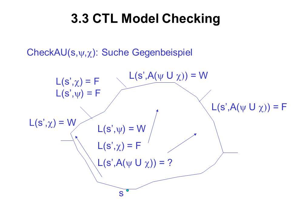 3.3 CTL Model Checking CheckAU(s,y,c): Suche Gegenbeispiel