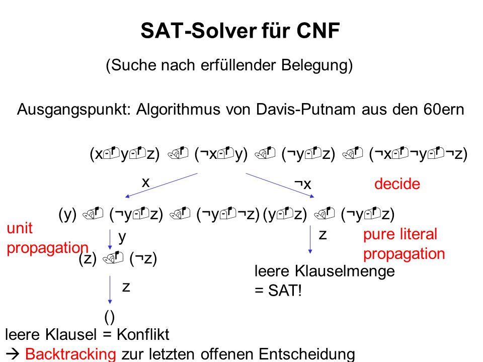 SAT-Solver für CNF (Suche nach erfüllender Belegung)
