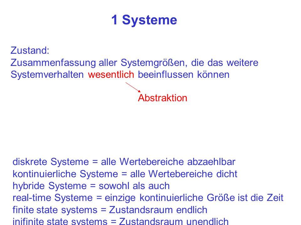 1 Systeme Zustand: Zusammenfassung aller Systemgrößen, die das weitere