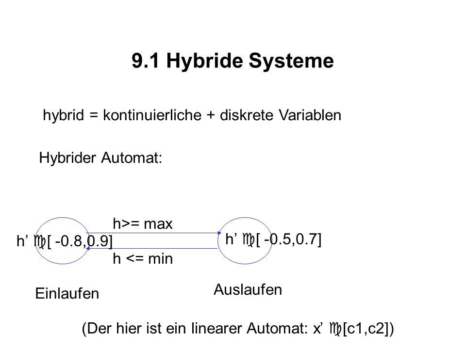 9.1 Hybride Systeme hybrid = kontinuierliche + diskrete Variablen